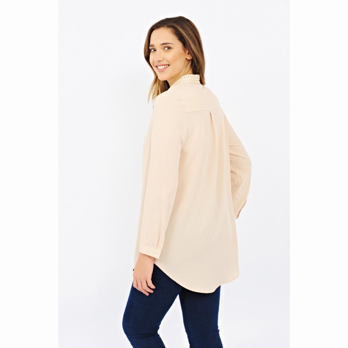 Блузка с длинными рукавамиБлузка с длинными рукавами LOVEDROBE. Красивая блузка с застёжкой на пуговицы по всей длине. Оригинальный рубашечный воротник и вставки на плечах. Длина около 84 см. 100% полиэстера<br><br>Цвет: бежевый<br>Размер: 48 (FR) - 54 (RUS)