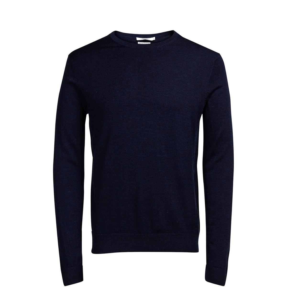 Пуловер с круглым воротником, 100% шерсти мериноса