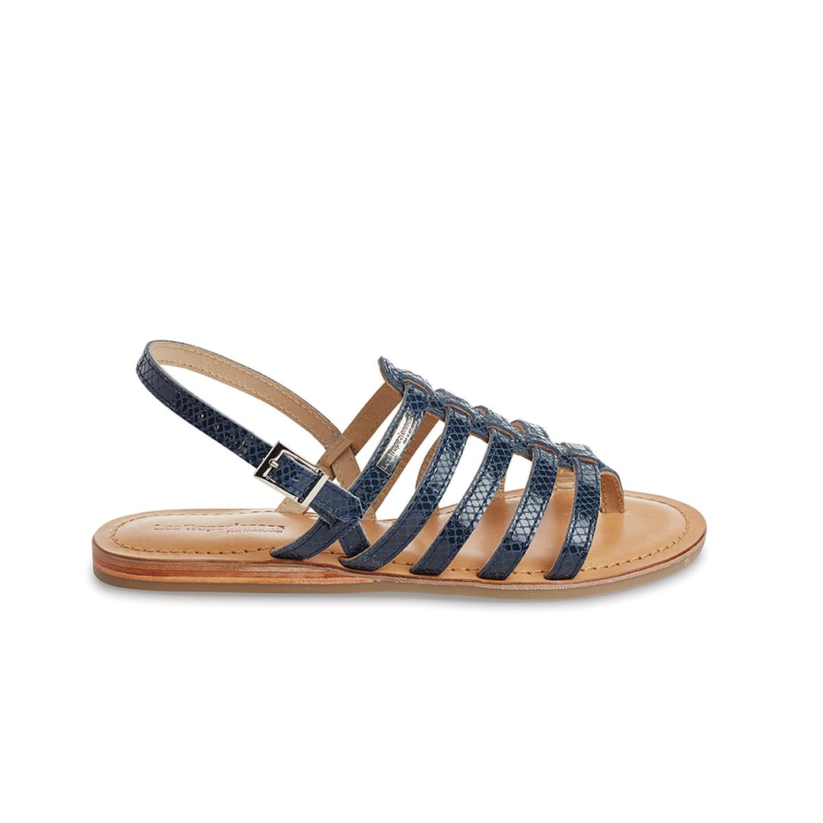 Босоножки Heripo, с многочисленными ремешками, с перемычкой между пальцами, из кожиЛаконичные и ультра женственные, они деликатно обхватывают ногу благодаря множеству ремешков и перемычке между пальцами - в греческом стиле... Восхитительны в ансамблях с шортами и короткими платьями...<br><br>Цвет: синий морской<br>Размер: 37.41