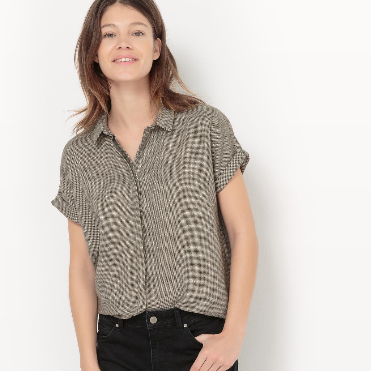 Рубашка прямая с металлизированными волокнами