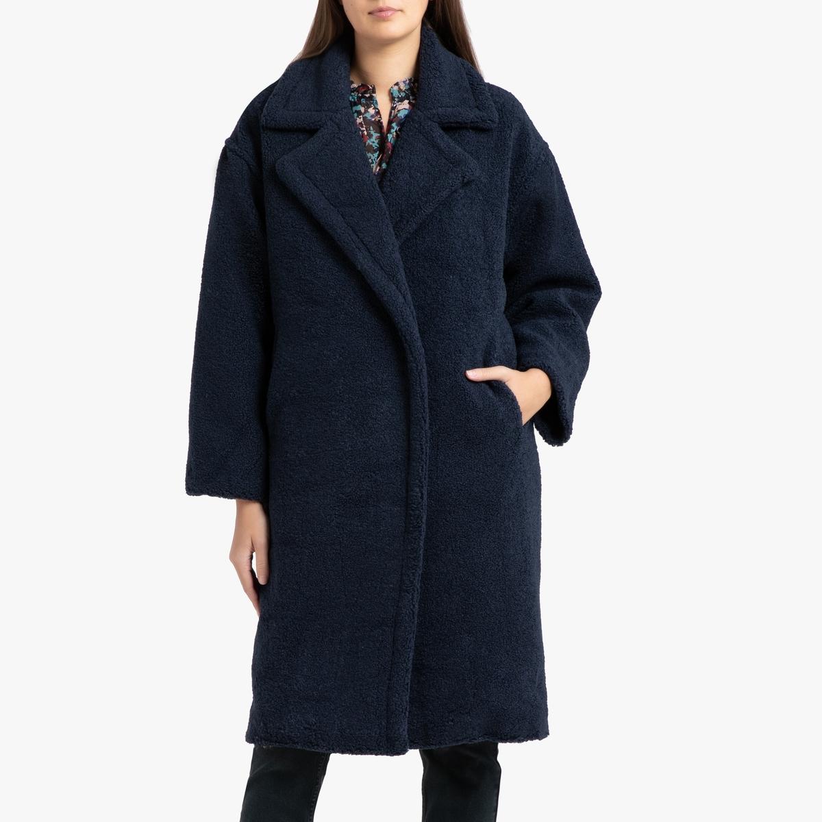 Пальто La Redoute Длинное на кнопках с воротником с лацканами EDONA 3(L) синий цена