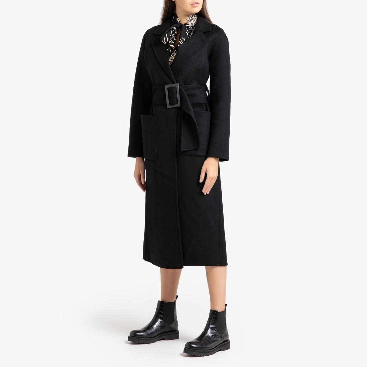 все цены на Пальто La Redoute Длинное прямое с ремешком BARNABE 1(S) черный онлайн