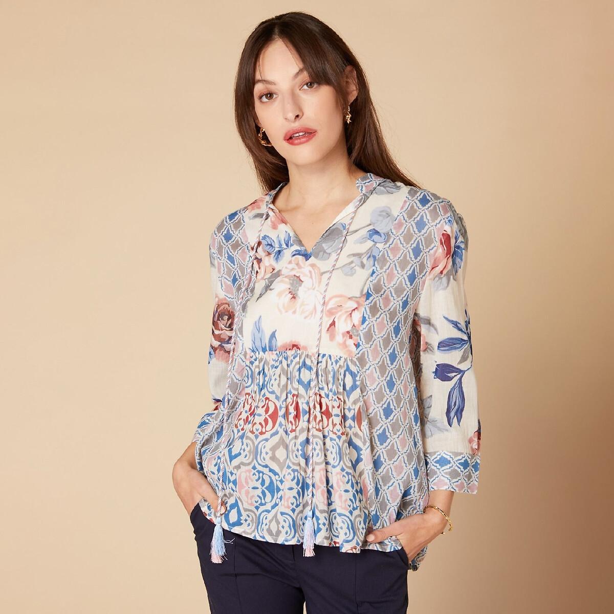 Блузка La Redoute Расклешенная с цветочным рисунком и завязками с помпонами L белый юбка la redoute короткая расклешенная с цветочным рисунком и оборками на поясе xs бежевый