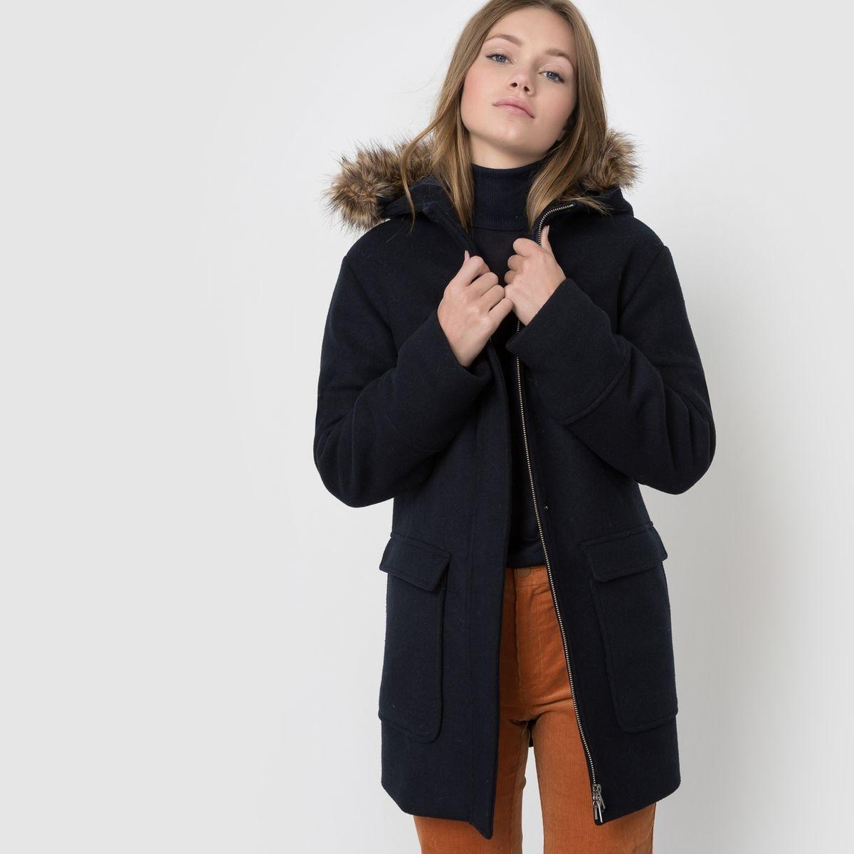 Manteau capuche fausse fourrure
