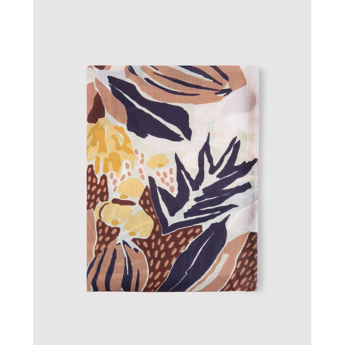Foulard blanc à imprimé végétal