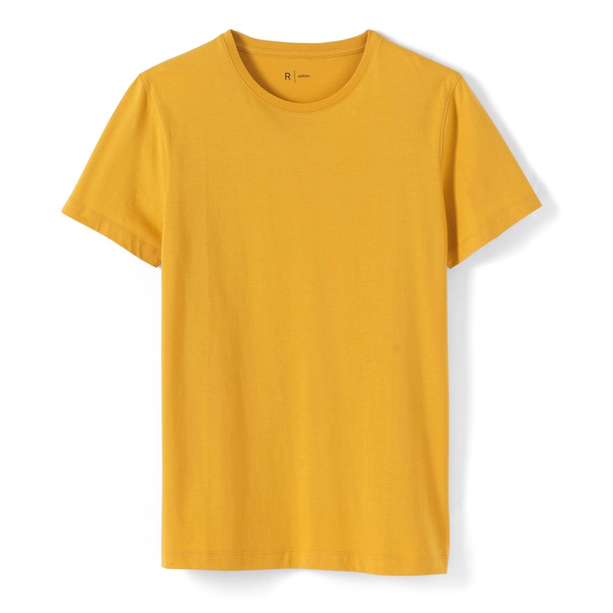 Футболка хлопковая  с круглым вырезомОписание:Детали •  Короткие рукава •  Круглый вырезСостав и уход •  100% хлопок •  Машинная стирка при 40° •  Сухая чистка и отбеливание запрещены •  Барабанная сушка при умеренном режиме •  Гладить при средней температуре<br><br>Цвет: желтый<br>Размер: XL