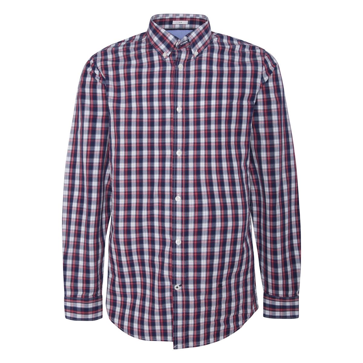 Рубашка La Redoute Узкая в клетку из поплина XXL синий рубашка la redoute джинсовая узкая jjesheridan s синий