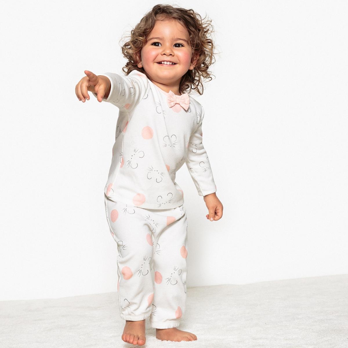 Комплект из 2 пижам с рисунком, 0 мес.- 3 годаОписание:2 пижамы из двойного ластика. Мягкие пижамы для спокойного сна малышейДетали •  2 пижамы : 1 с рисунком + 1 пижама: верх с набивным рисунком, низ в полоску. •  Длинные рукава. •  Круглый вырез. •  Носки с противоскользящими элементами для размеров от 12 месяцев  (74 см).Состав и уход •  Материал : 100% хлопок. •  Стирать с вещами схожих цветов при 40° в обычном режиме. •  Стирать и гладить с изнанки при низкой температуре. •  Деликатная сушка в машинке.Товарный знак Oeko-Tex®. Знак Oeko-Tex® гарантирует, что товары прошли проверку и были изготовлены без применения вредных для здоровья человека веществ.<br><br>Цвет: розовый + экрю<br>Размер: 3 года - 94 см