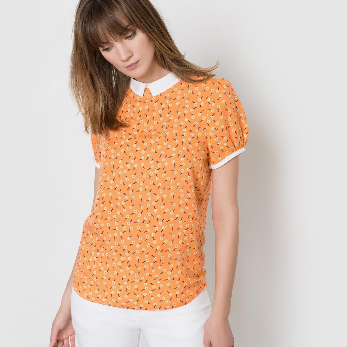 Блузка с рисункомСостав и описаниеМатериал: 100% вискозыДлина 65 смМарка Mademoiselle R<br><br>Цвет: рисунок/оранжевый<br>Размер: 38 (FR) - 44 (RUS)