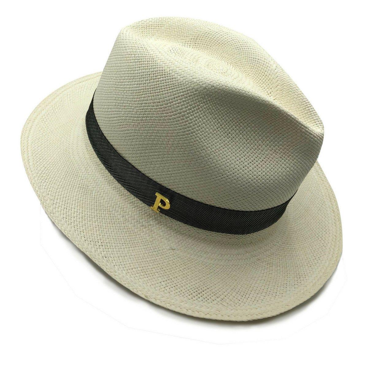 Chapeau Panama en paille écrue ruban interchangeable carbone