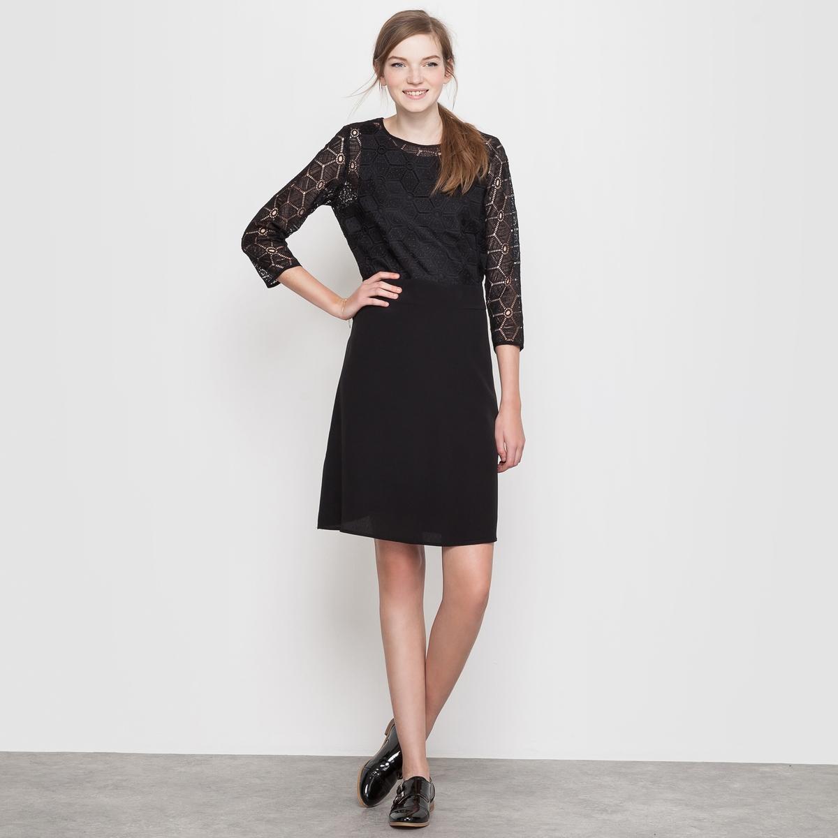 Купить со скидкой Платье из двух материалов, с открытой спиной