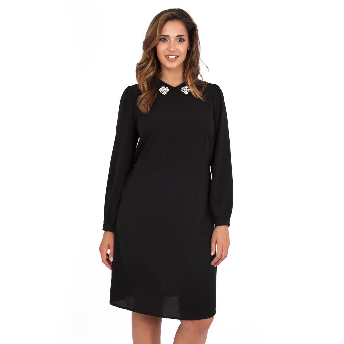 ПлатьеПлатье с длинными рукавами - LOVEDROBE. Красивая отделка выреза. Ремень на поясе. Длина ок.104 см. 100% полиэстера.<br><br>Цвет: черный<br>Размер: 50/52 (FR) - 56/58 (RUS)