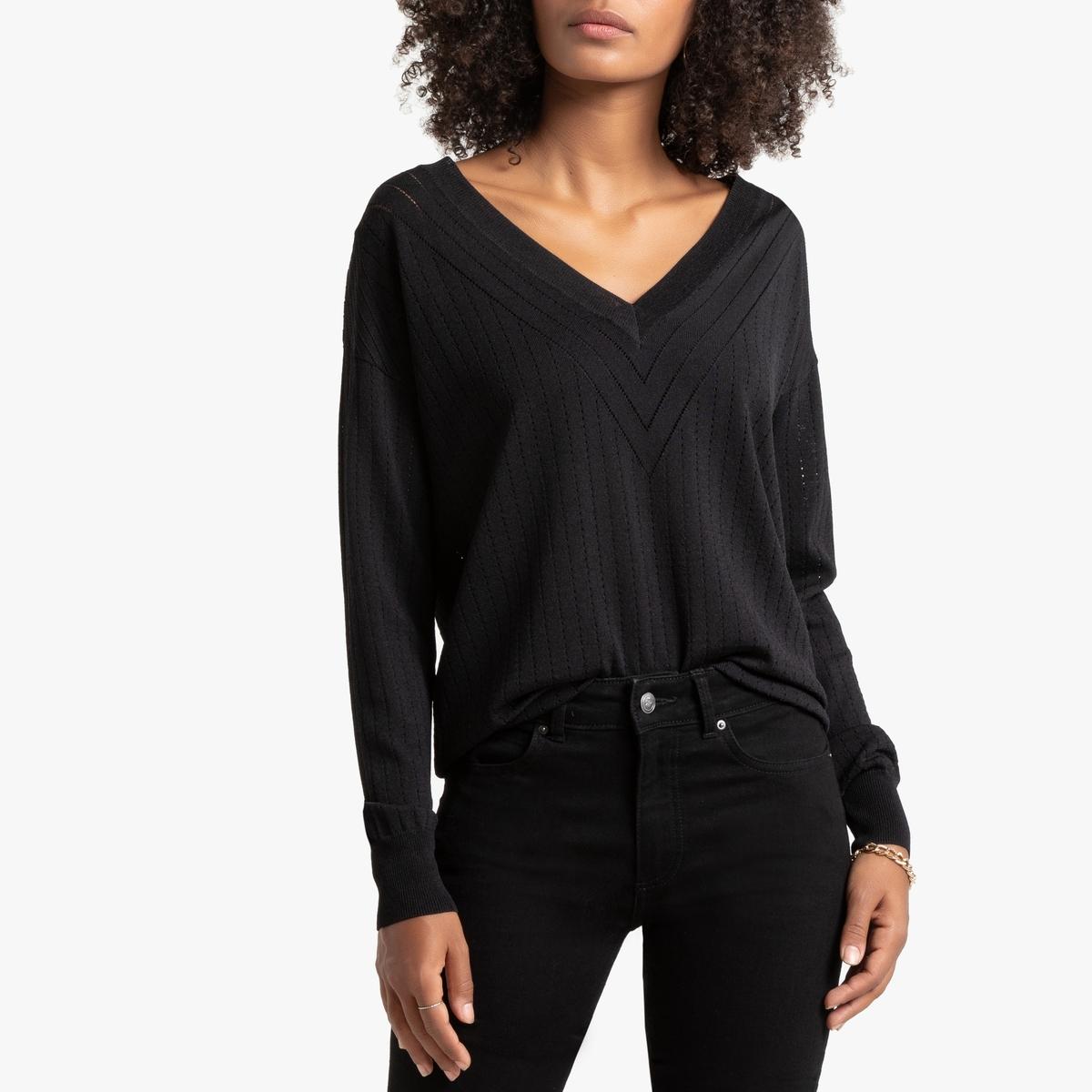 Пуловер La Redoute С V-образным вырезом из тонкого ажурного трикотажа S черный пуловер la redoute с v образным вырезом из тонкого трикотажа s черный