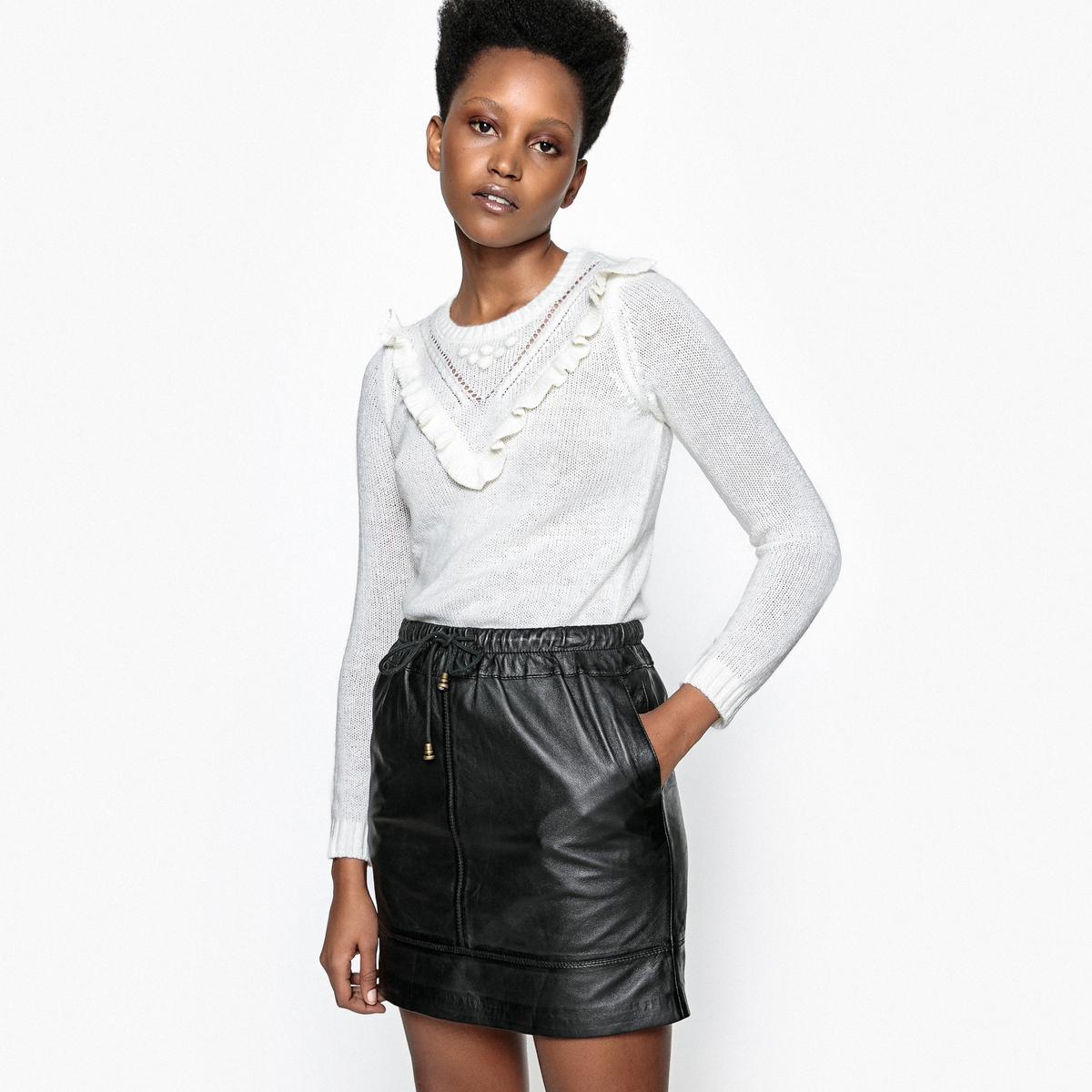 Пуловер с ажурными вставками и воланами, из мохера