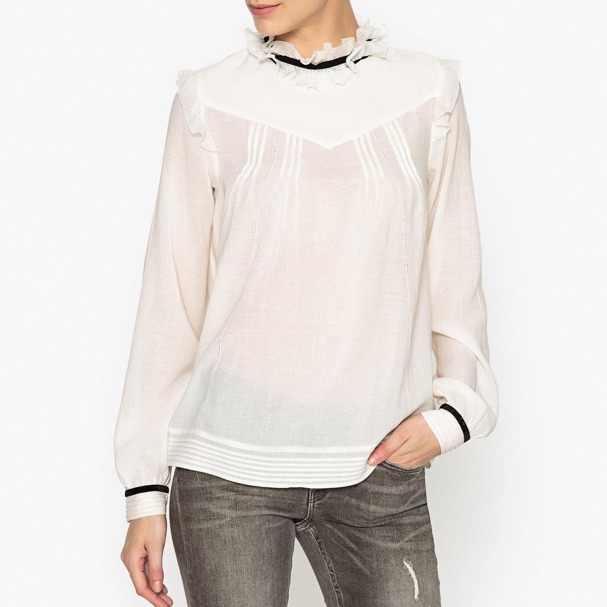 Блузка прозрачная свободного покроя с воланами maison scotch футболка с длинными рукавами