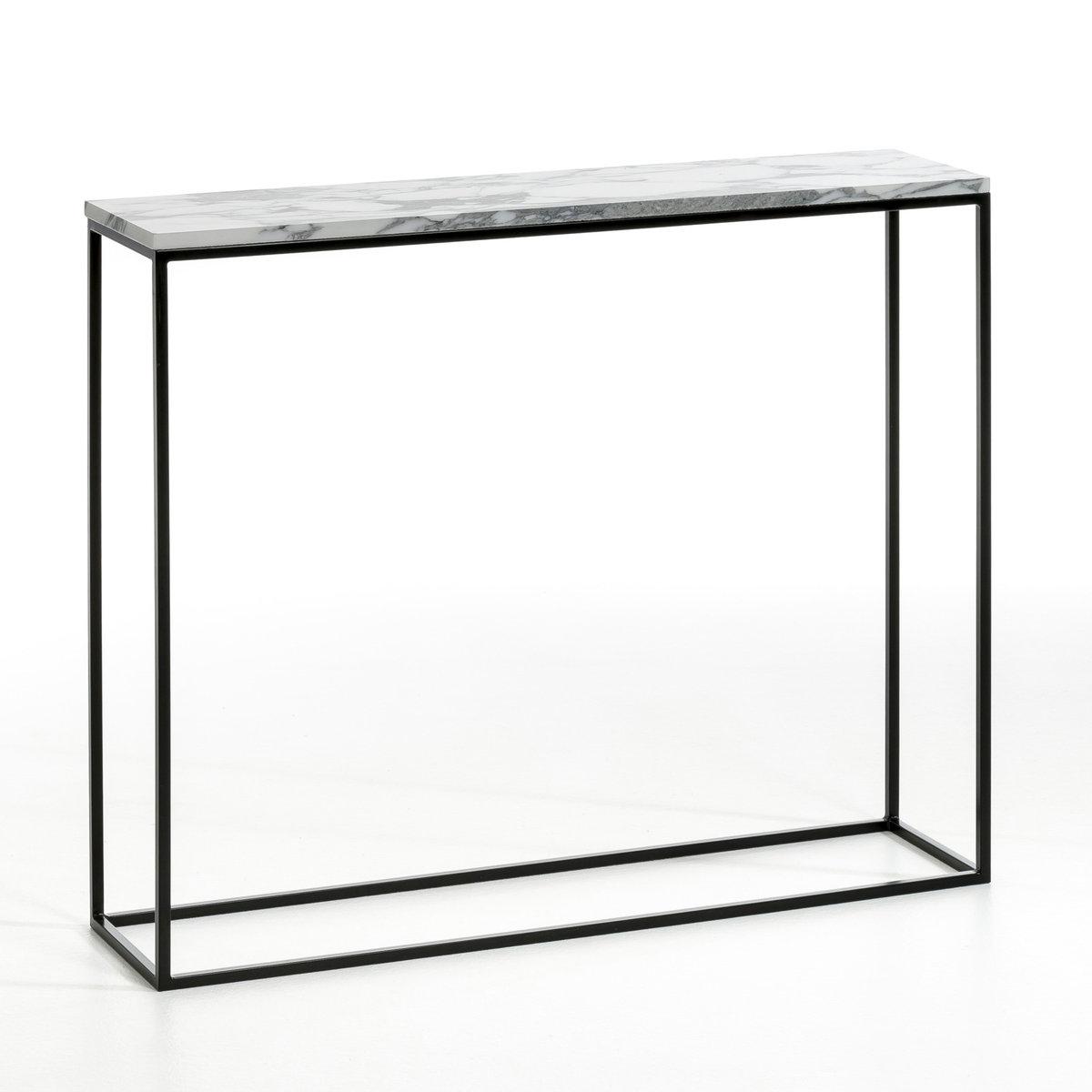 Столик из черного металла и мрамора, MahautСтолик Mahaut. Стильный эффект мрамора. Декоративный и практичный столик, стильный, узкий, легко впишется в  ваш интерьер. Характеристики :- Корпус из металла черного цвета, матовое эпоксидное покрытие- Столешница под мрамор. Размеры : - Дл. 90 x Выс. 75 x Гл. 22 смРазмеры и вес упаковки : - Дл. 100 x Выс. 23 x Гл. 75,5 см, 21 кгДоставка :Доставка до квартиры !Внимание ! Убедитесь в том, что товар возможно доставить на дом, учитывая его габариты (проходит в двери, по лестницам, в лифты).<br><br>Цвет: черный