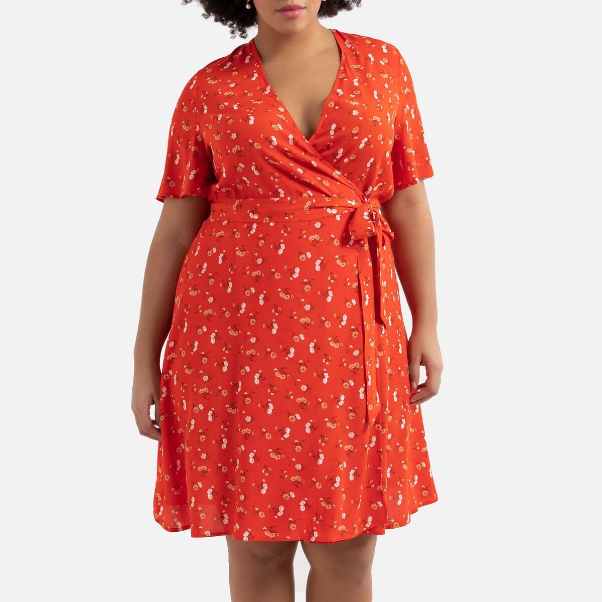 Платье La Redoute С запахом с длинными рукавами 56 (FR) - 62 (RUS) красный