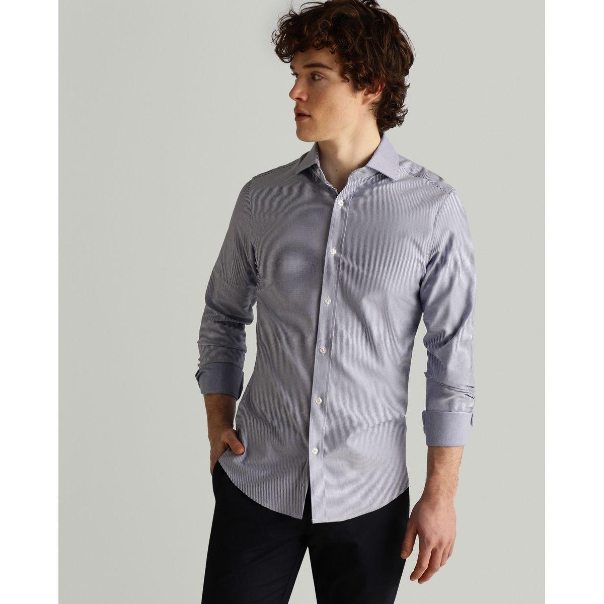 Chemise slim habillée  en maille rayée