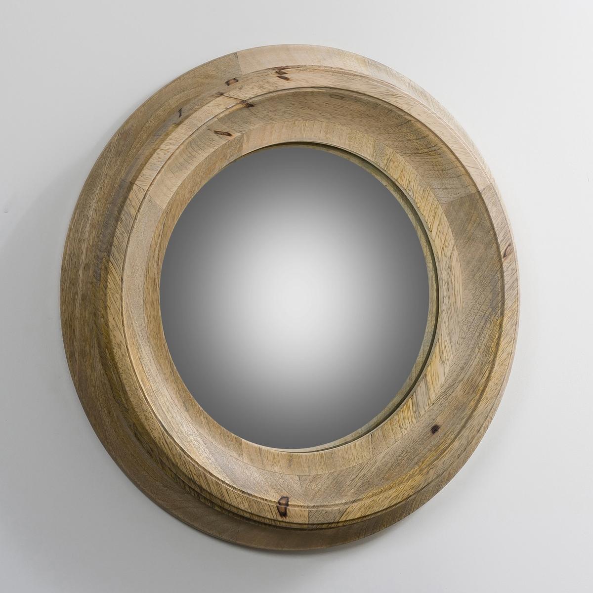 Зеркало волшебное  ?40 см, HabelС выпуклым алитированным стеклом. Рама натуральный манго. Настенный монтаж со скрытым металлическим ушком.<br><br>Цвет: серо-бежевый