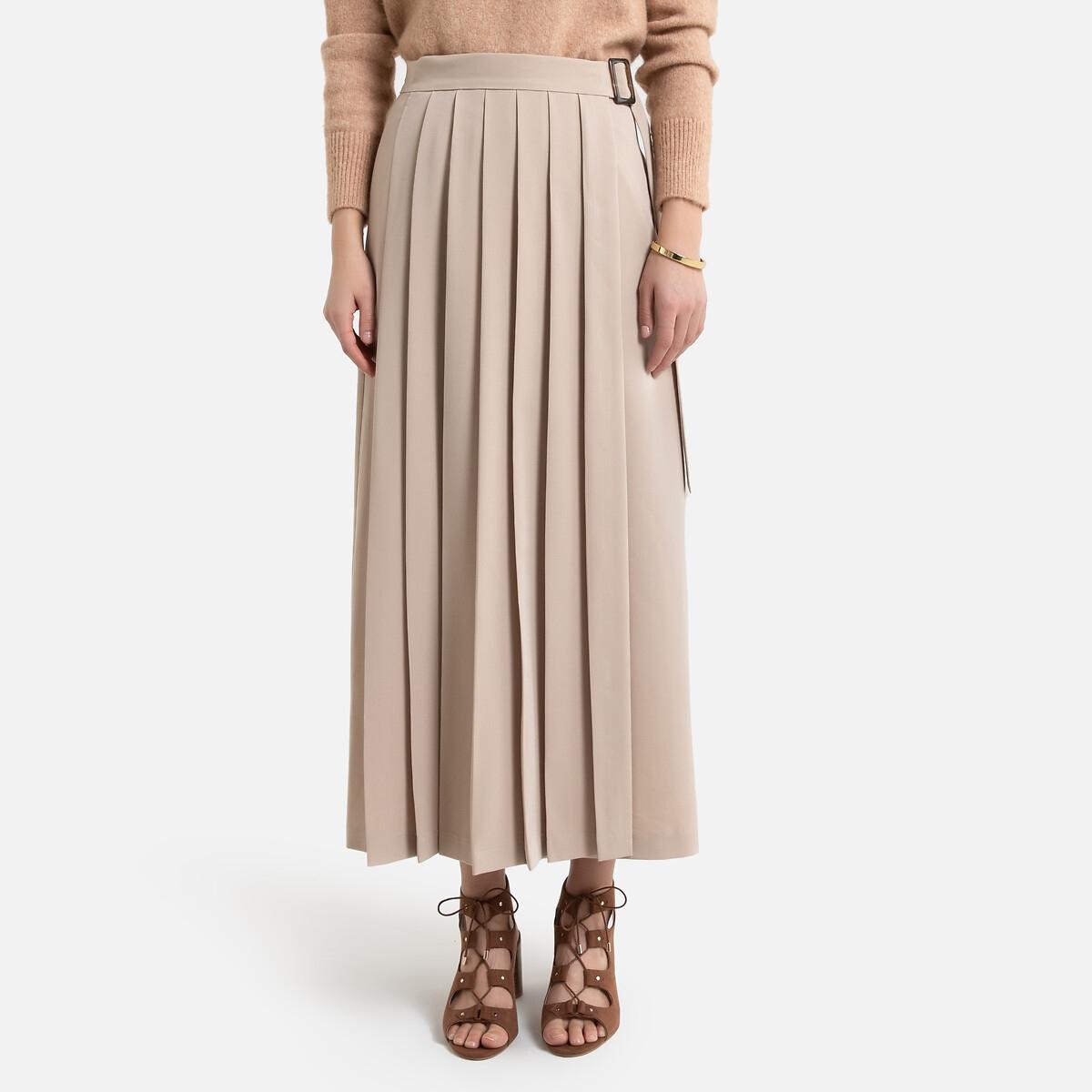 Falda larga plisada y cruzada