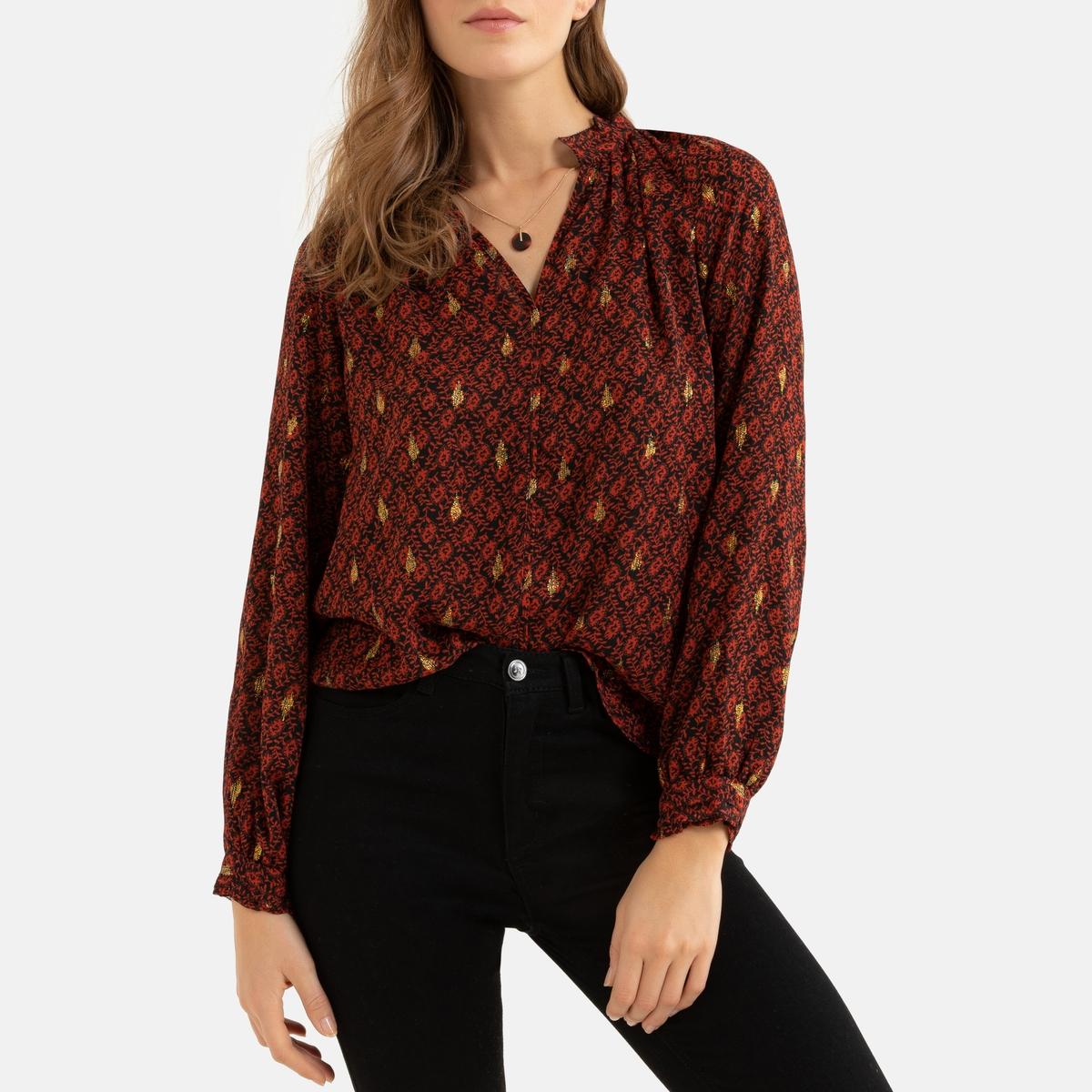 Блузка La Redoute С длинными рукавами и V-образным вырезом 1(S) красный