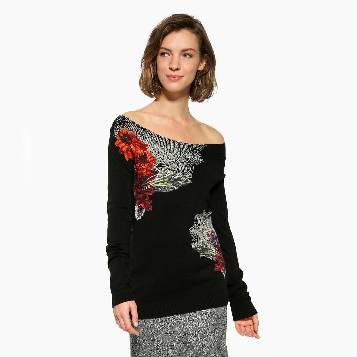 Пуловер без воротника из тонкого трикотажаДетали •  Длинные рукава •  Без воротника •  Тонкий трикотаж  •  Графичный рисунокСостав и уход •  90% вискозы, 10% эластана •  Следуйте советам по уходу, указанным на этикетке<br><br>Цвет: черный<br>Размер: M
