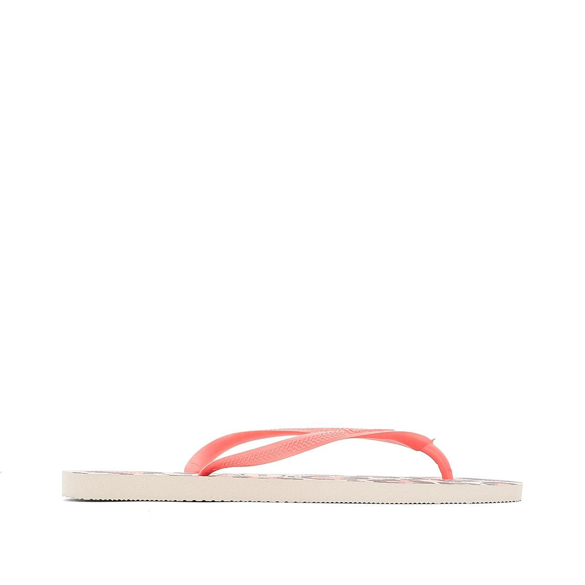 Вьетнамки Slim AnimalsВерх : каучук   Стелька : каучук   Подошва : каучук   Форма каблука : плоский каблук   Мысок : открытый мысок   Застежка : без застежки<br><br>Цвет: леопардовый рисунок