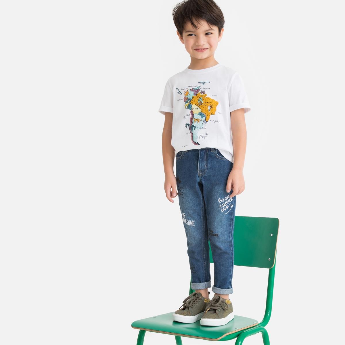 Джинсы La Redoute Узкие с принтом и вышивкой 10 синий джинсы la redoute узкие с вышивкой 8 другие