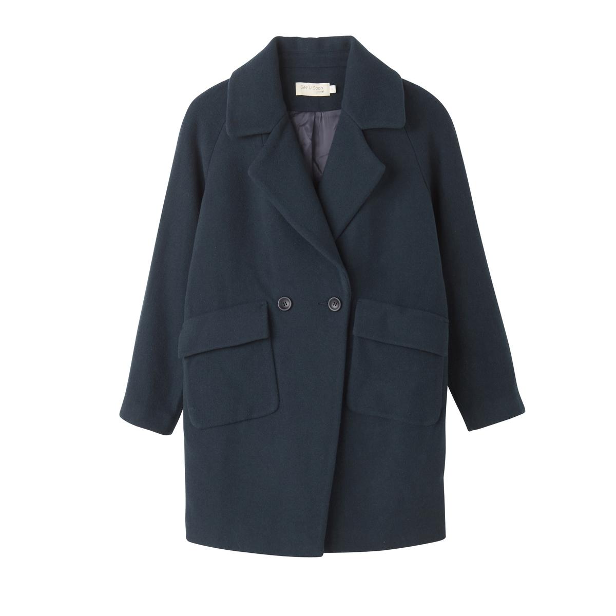 Пальто женское средней длины прямого покрояОписание:Пальто тщательно продуманного покроя из шерстяного драпа . Форма кэжуал и невероятно модный объемный покрой .Детали •  Длина : средняя •  Воротник-поло, рубашечный  • Застежка на пуговицыСостав и уход •  50% шерсти, 50% полиэстера •  Следуйте рекомендациям по уходу, указанным на этикетке изделия<br><br>Цвет: синий<br>Размер: M