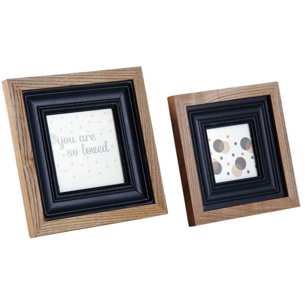 Cadre photo en bois et verre (Lot de 2)
