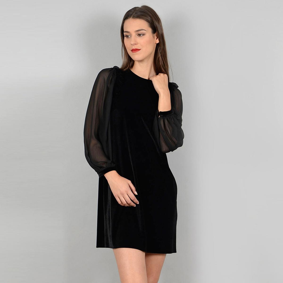Платье-миди, длина 3/4, длинные рукава