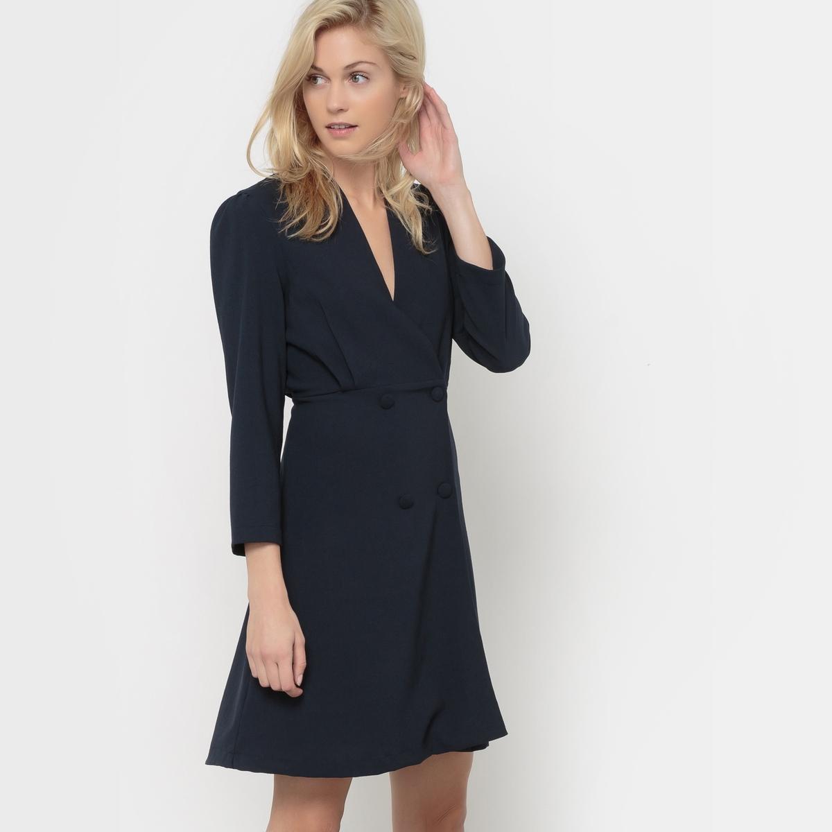 Платье с запахом с длинными рукавамиПлатье с запахом VERO MODA. V-образный вырез. Длинные рукава. Пуговицы на поясе. Вытачки на поясе. Юбка расклешенная.          Состав и описание     Материал        100% полиэстер     Марка        VERO MODA<br><br>Цвет: темно-синий,черный<br>Размер: S.S