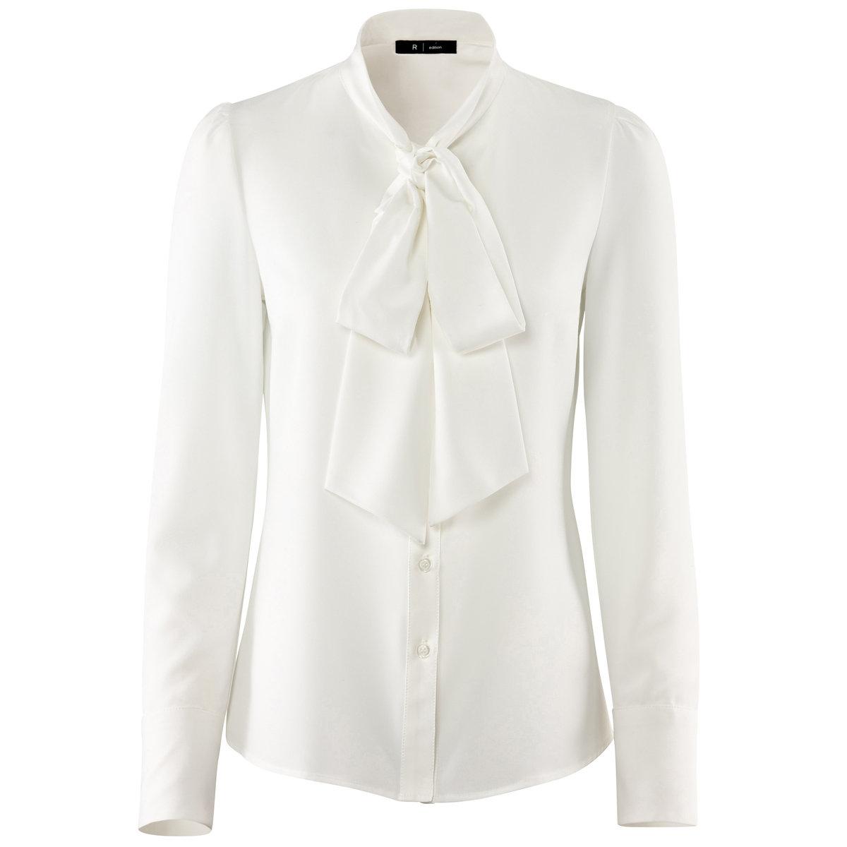 Блузка с длинными рукавамиБлузка. 100% полиэстер. Воротник-галстук. Длинные рукава и манжеты с застежкой на пуговицы. Длина 63 см.<br><br>Цвет: синий морской<br>Размер: 44 (FR) - 50 (RUS)