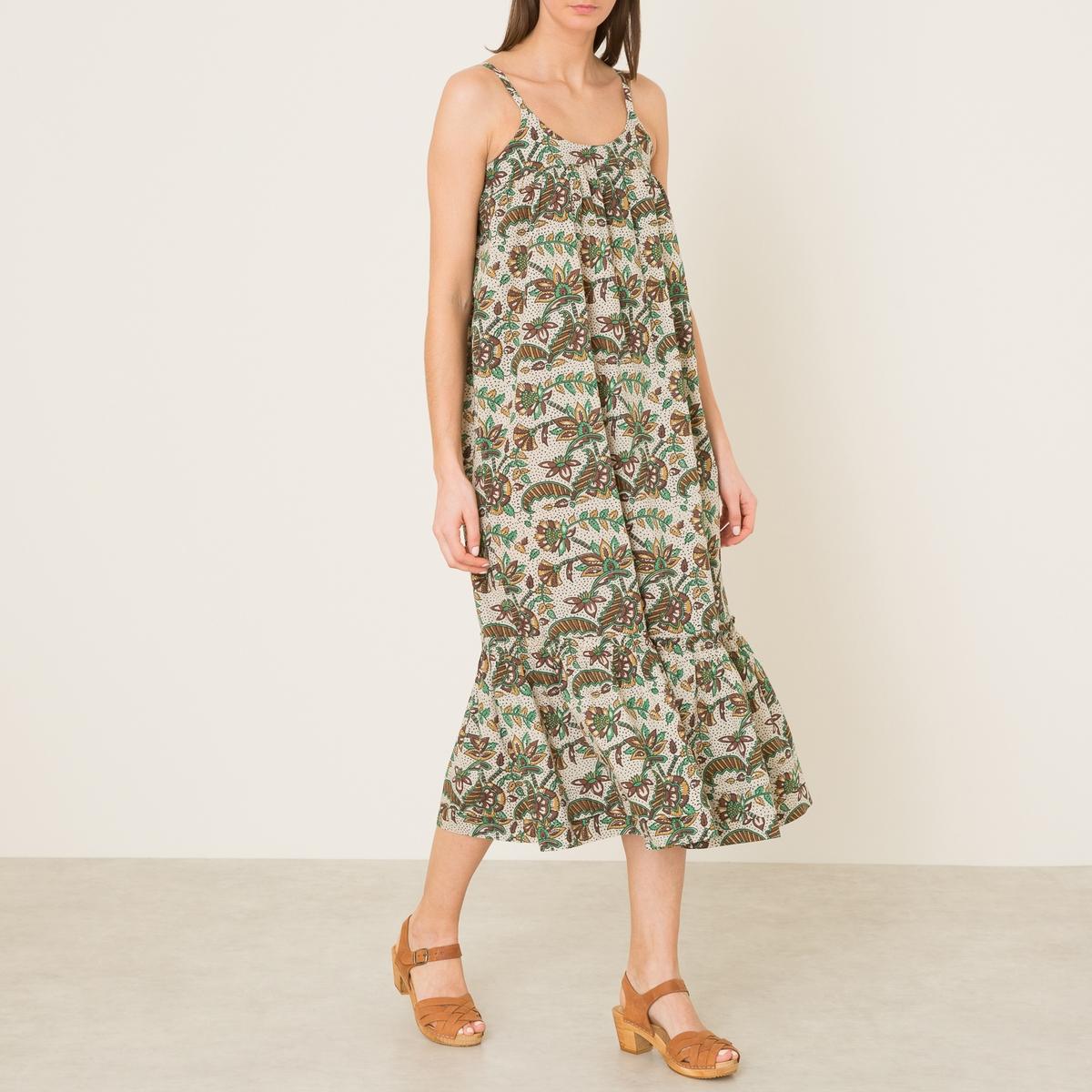 Платье длинное с принтом SALLYСостав и описаниеМатериал : 100% хлопок.Длина : ок. 107 см. (для размера 36)Марка : SOEUR<br><br>Цвет: набивной рисунок