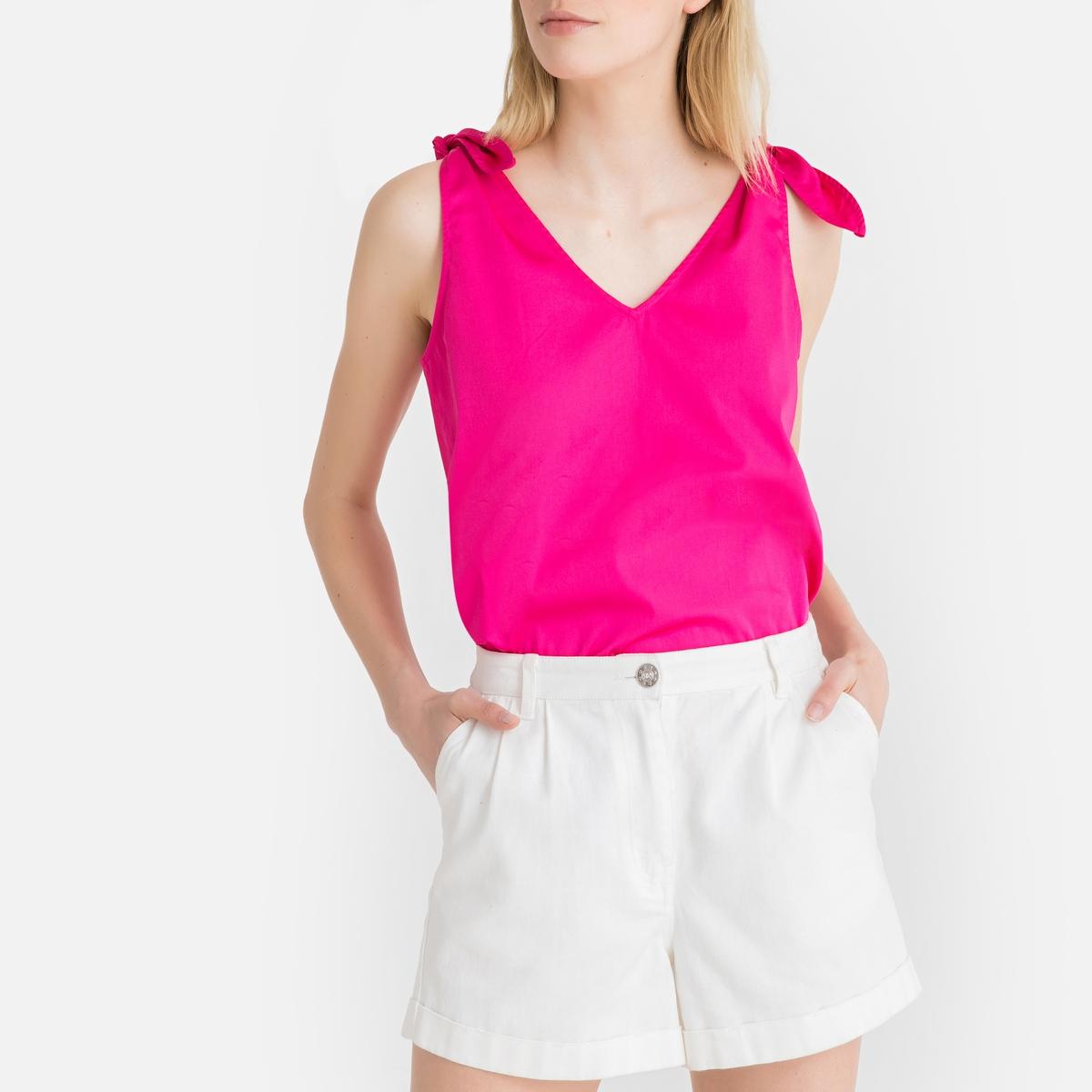Блузка La Redoute Без рукавов с завязками на плечах 34 (FR) - 40 (RUS) розовый блузка lime блузка с завязками