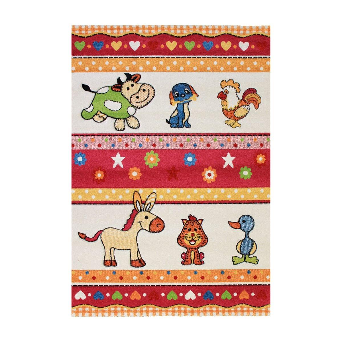 Tapis multicolore pour chambre bébé Fermette