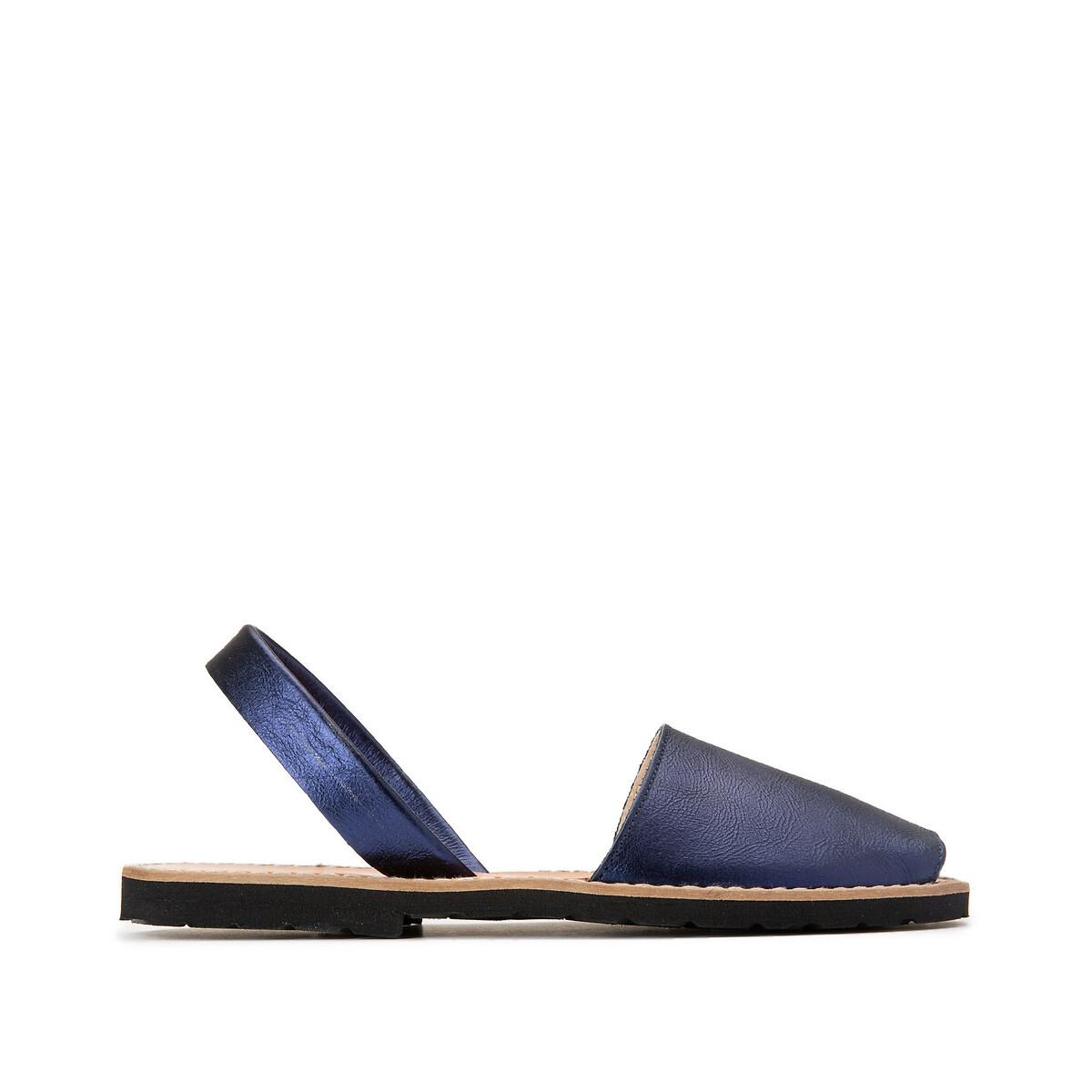 Босоножки La Redoute Кожаные на плоском каблуке AVARCA METAL 36 синий босоножки far out босоножки с открытым носом