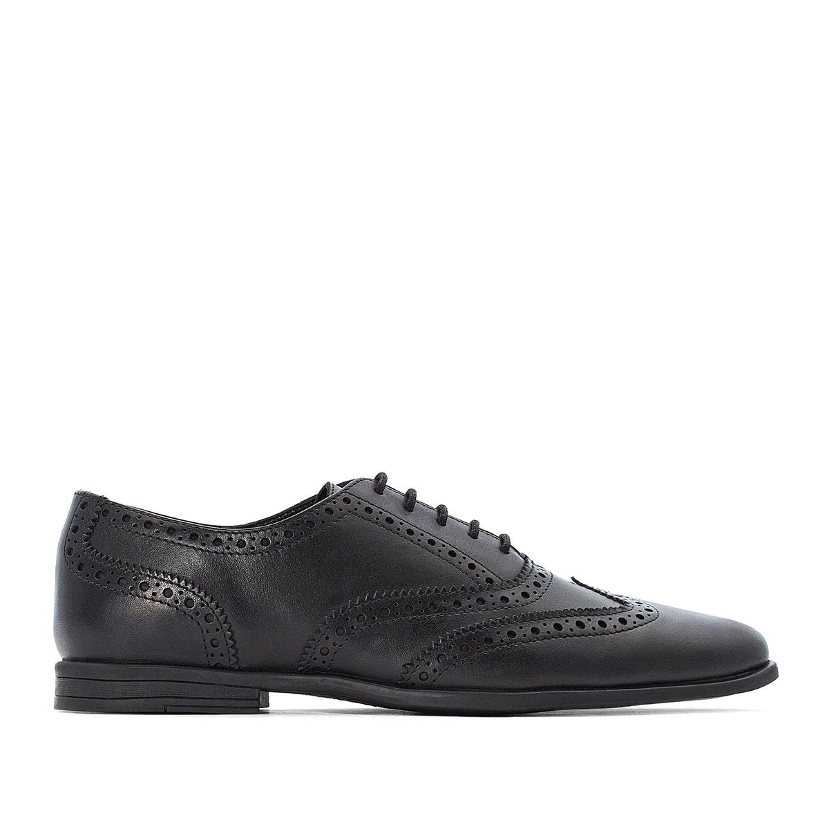 Ботинки-дерби La Redoute Кожаные на шнуровке 44 черный цена 2017