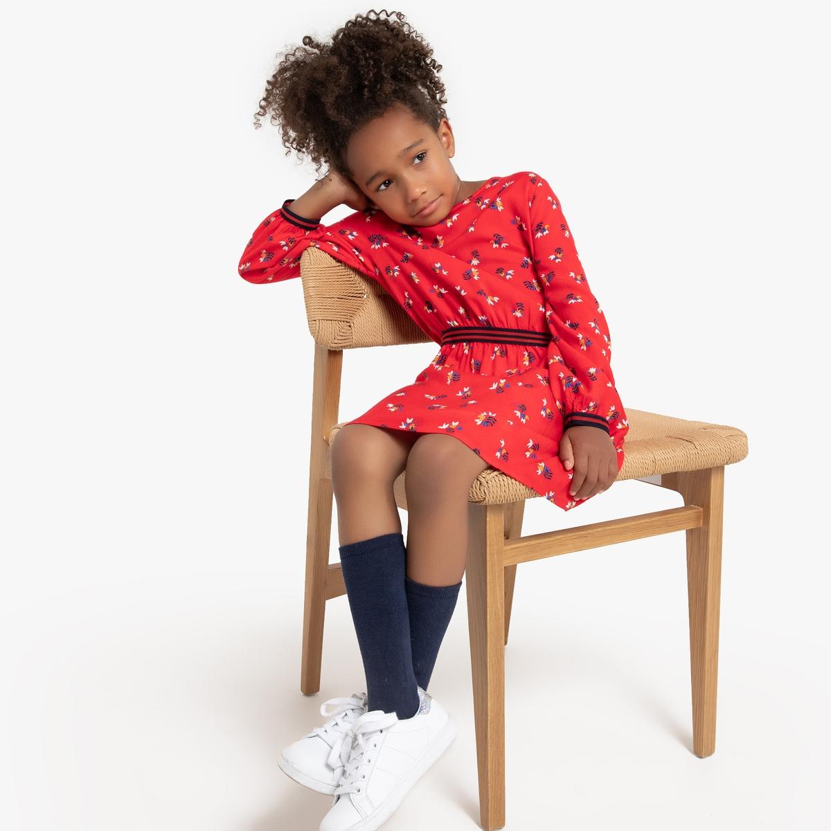 Платье La Redoute Струящееся с длинными рукавами с принтом 12 лет -150 см другие пижама la redoute с шортами и цветочным принтом 12 лет 150 см другие