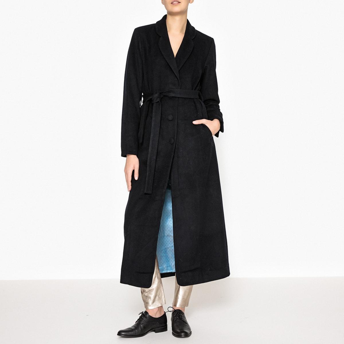 Пальто длинное с ремешком HERMANN драповое длинное пальто из шерсти claudius