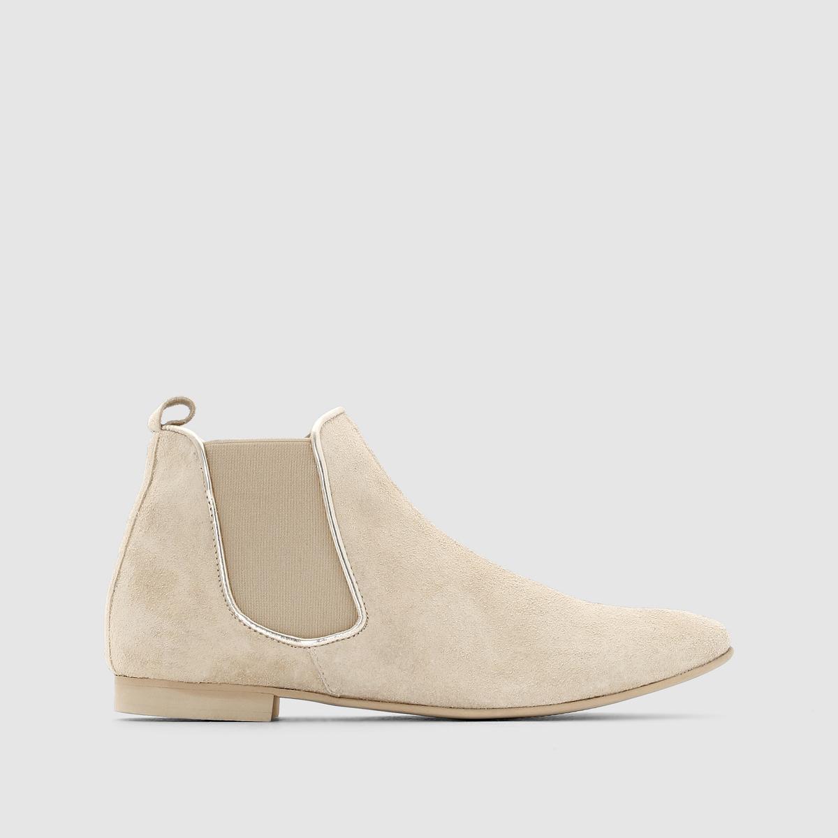 Ботинки женскиеКлассическая удобная модель делает ставку на стильное сочетание двух материалов.<br><br>Цвет: бежевый<br>Размер: 37.36