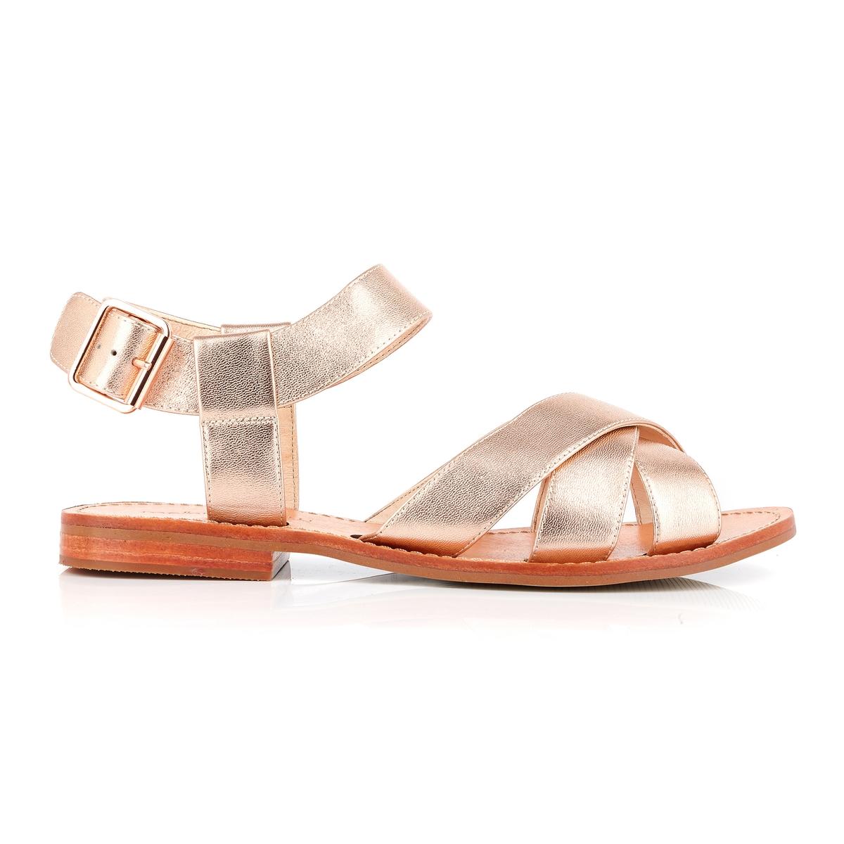 Босоножки кожаные на плоском каблуке Daline босоножки кожаные с кисточками на плоском каблуке