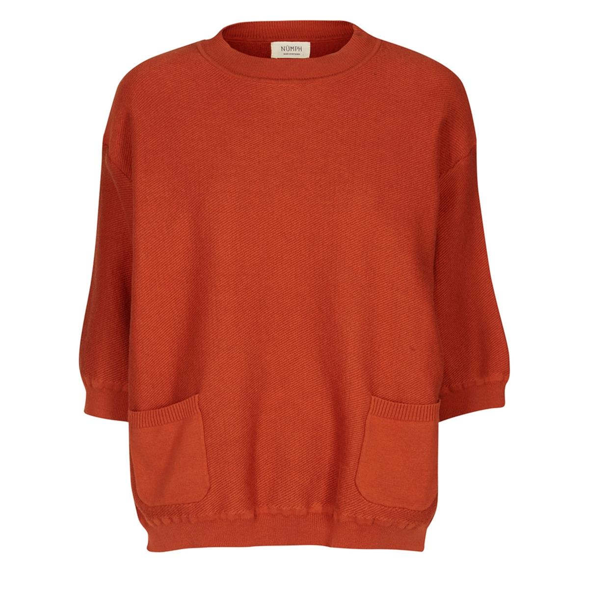 Пуловер с рукавами 3/4Пуловер CIMARRON. Рукава 3/4. Круглый вырез. 2 кармана спереди.           Характеристики и описание     Материал         90% хлопка, 10% полиамида     Марка         NUMPH<br><br>Цвет: кирпичный<br>Размер: L