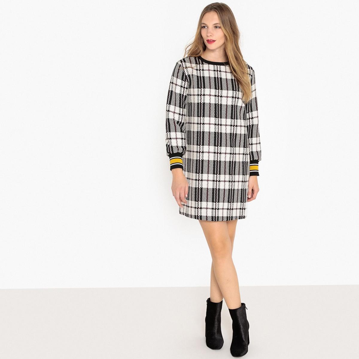 Платье La Redoute Прямое в клетку с застежкой на молнию сзади 34 (FR) - 40 (RUS) черный платье свитшот la redoute с воротником стойкой и застежкой на молнию сзади 34 fr 40 rus серый