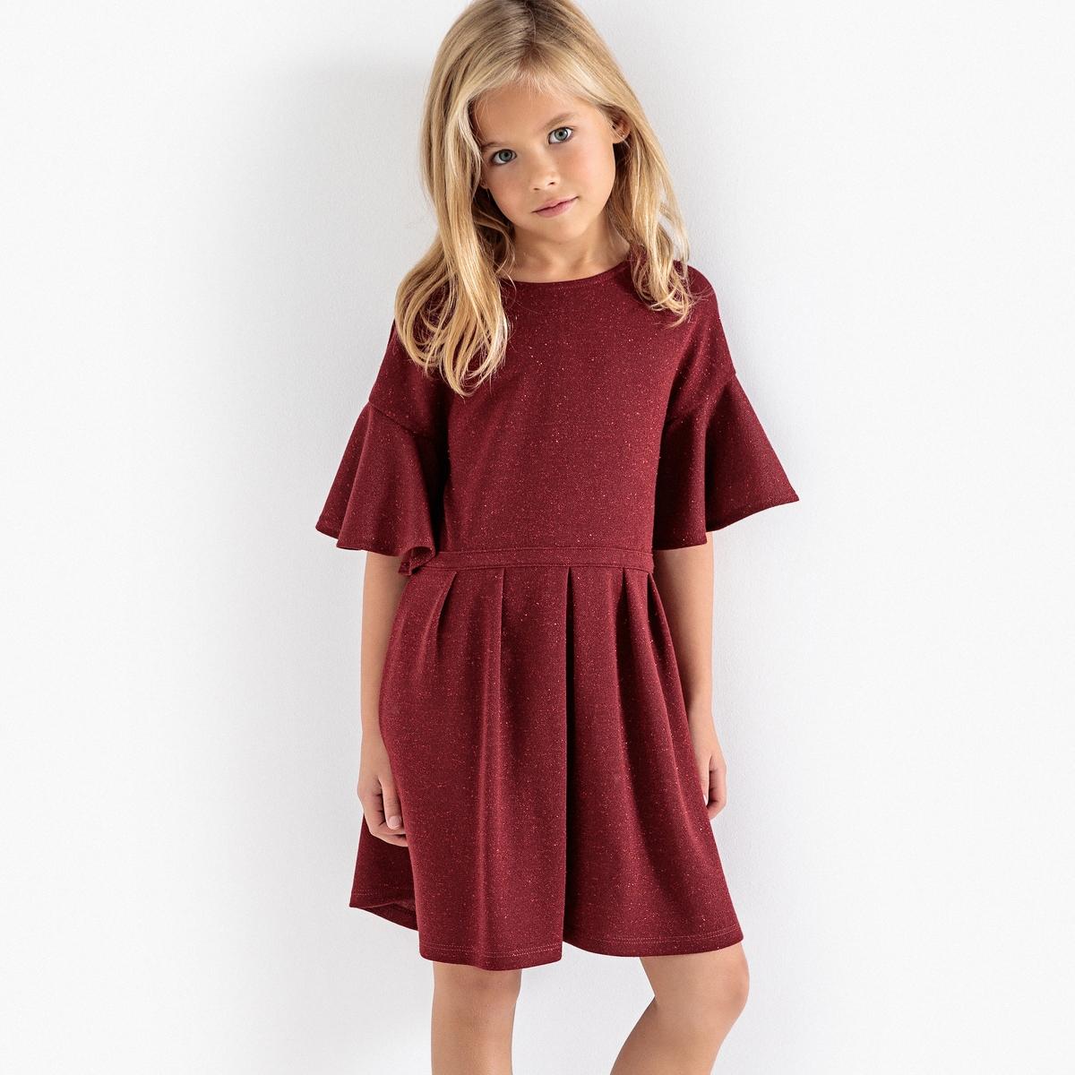 цена Платье La Redoute Из блестящего материала с воланами 3 года - 94 см красный онлайн в 2017 году
