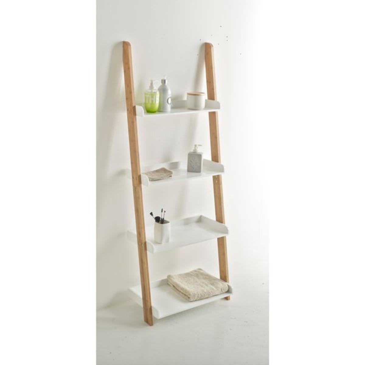 Этажерка с 4 полками для ванной комнаты из бамбука, LINDUSКаркас из бамбука, полки из МДФ с лакированным нитроцеллюлозным покрытием.Размеры бамбуковой этажерки с 4 полками, LINDUS :55 x 30 x 145 см<br><br>Цвет: белый