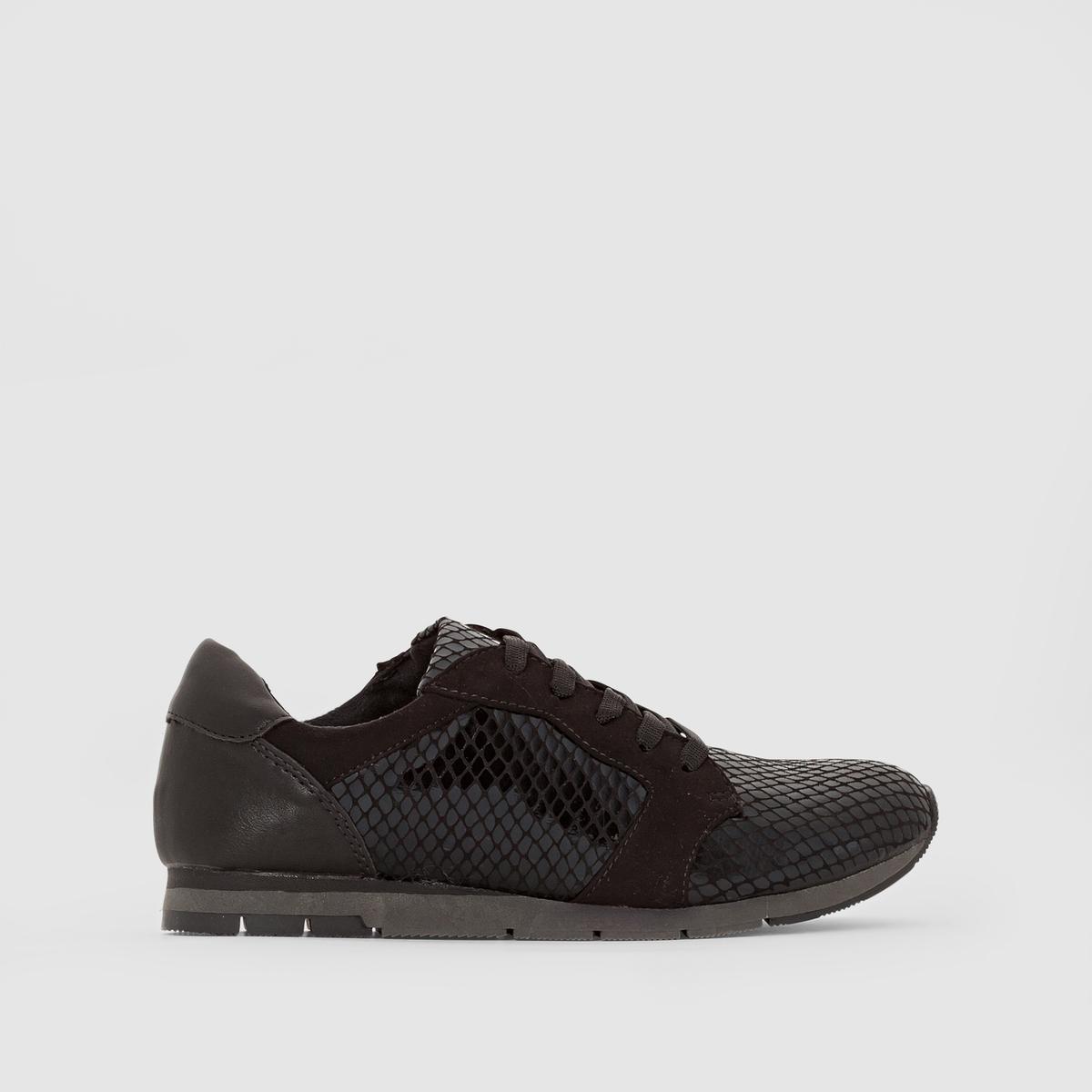Кеды 23617-27Подкладка : текстиль и синтетика       Стелька : синтетика       Подошва : синтетика       Высота каблука : 2 см       Форма каблука : плоский       Мысок : закругленный       Застежка : на шнуровке<br><br>Цвет: черный