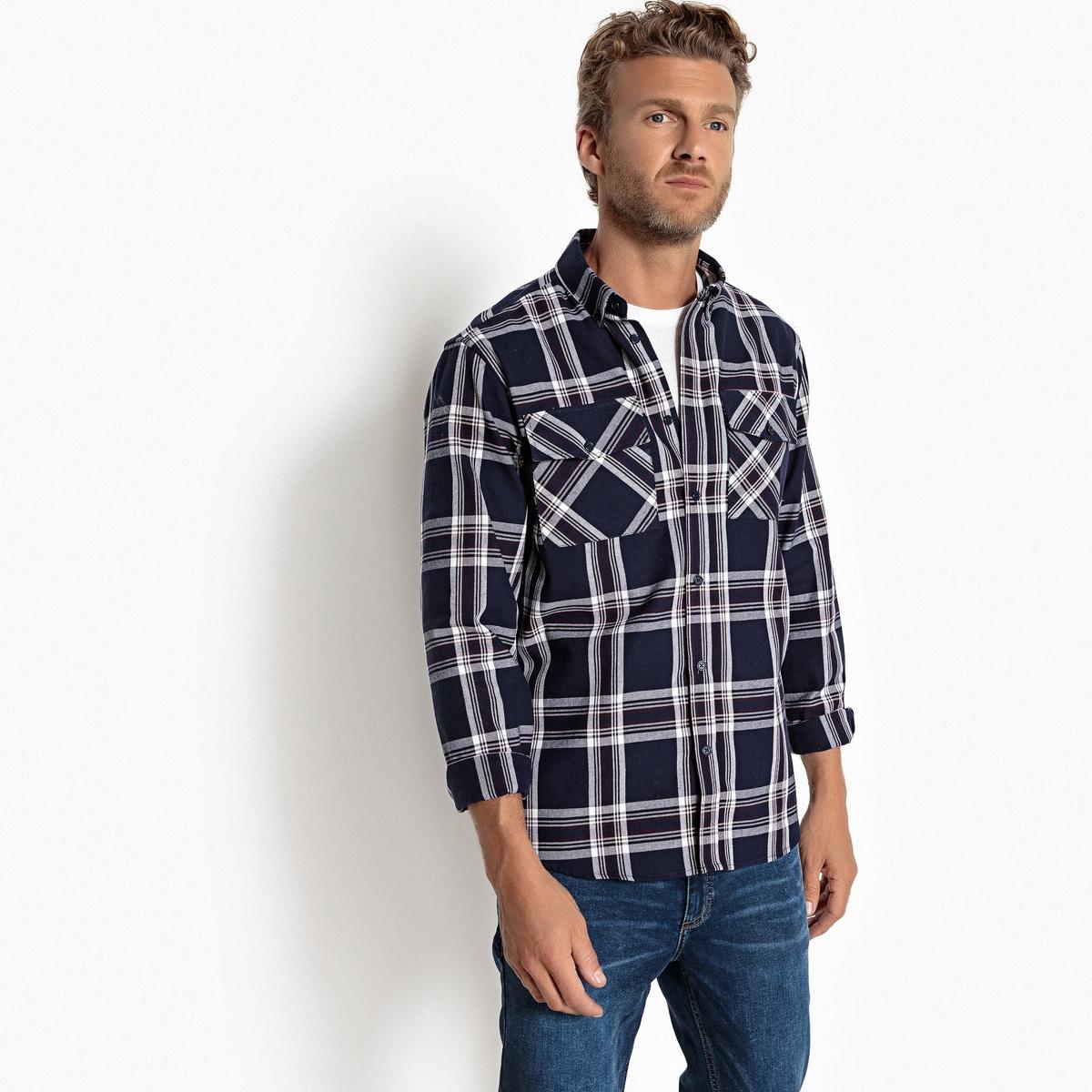 Рубашка прямая в клетку с длинными рукавами рубашка прямая большого размера в клетку