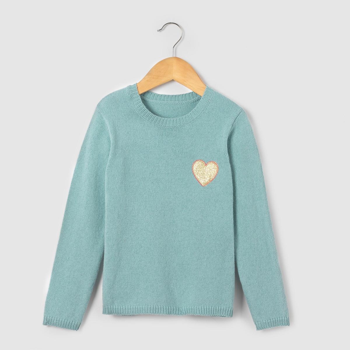 Фото Пуловер теплый с блестящим рисунком сердце,  3-12 лет. Купить с доставкой