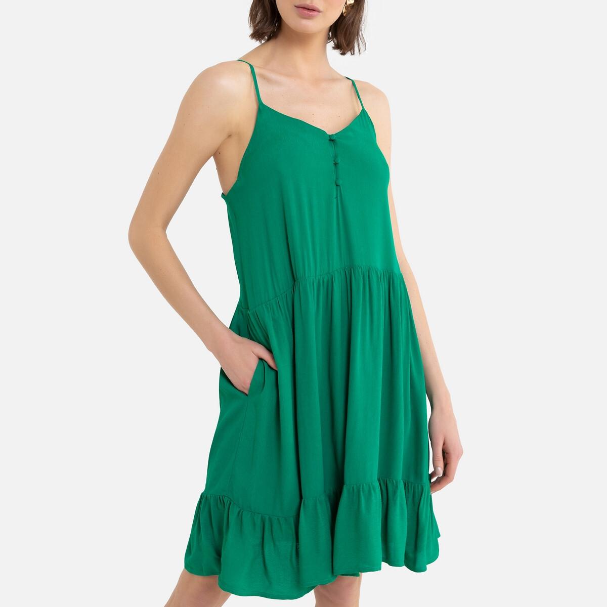 Платье La Redoute Короткое с тонкими бретелями 40 (FR) - 46 (RUS) зеленый